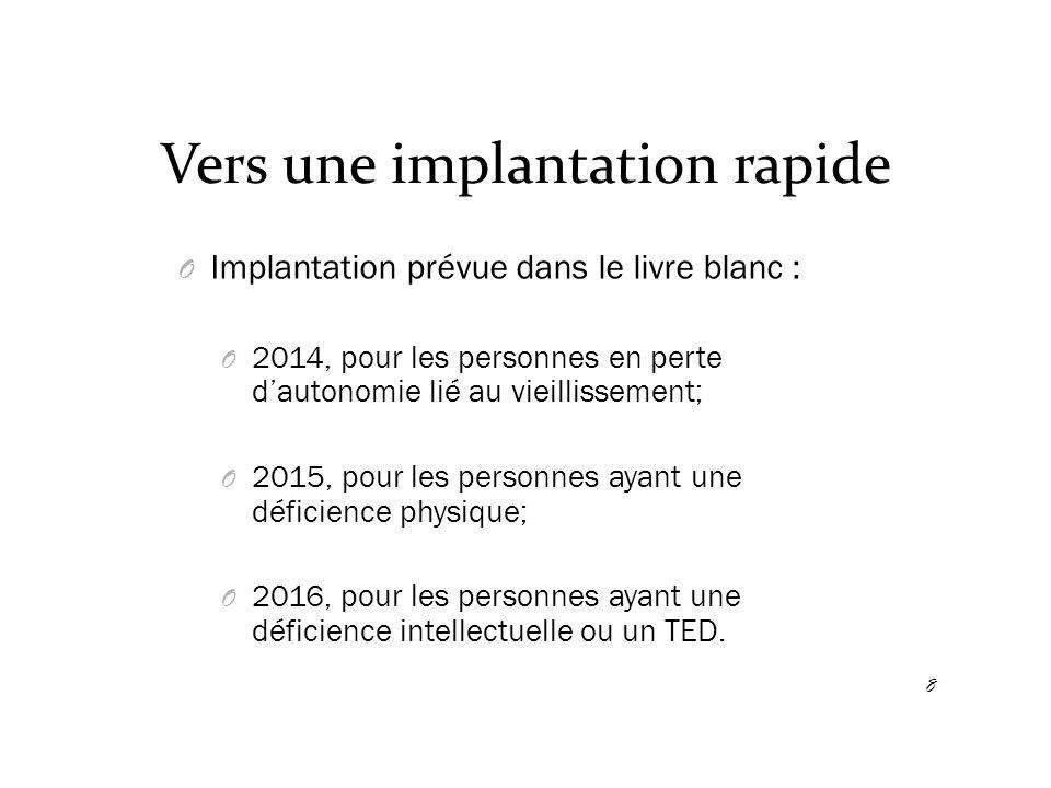 Vers une implantation rapide O Implantation prévue projet de loi 67 : O 1 er avril 2015.