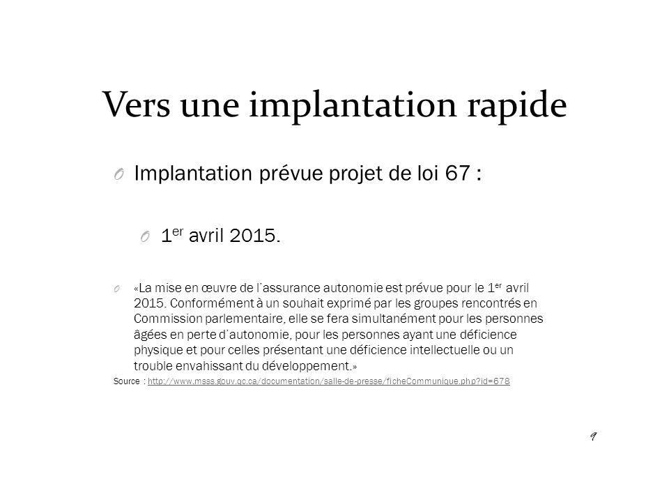 Vers une implantation rapide O Implantation prévue projet de loi 67 : O 1 er avril 2015. O «La mise en œuvre de l'assurance autonomie est prévue pour