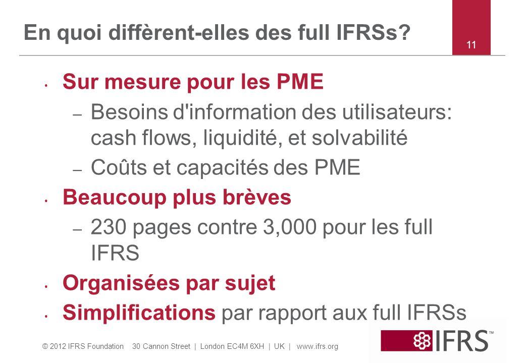 © 2012 IFRS Foundation 30 Cannon Street | London EC4M 6XH | UK | www.ifrs.org 11 En quoi diffèrent-elles des full IFRSs.