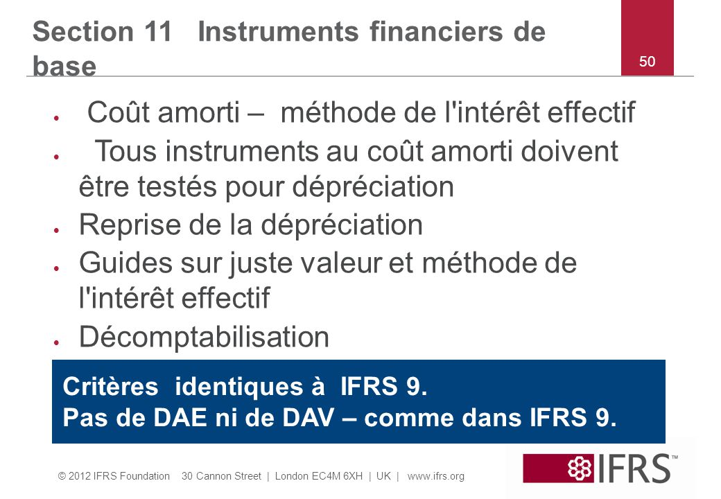 © 2012 IFRS Foundation 30 Cannon Street | London EC4M 6XH | UK | www.ifrs.org 50 Section 11 Instruments financiers de base  Coût amorti – méthode de
