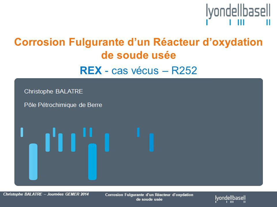Corrosion Fulgurante d'un Réacteur d'oxydation de soude usée Christophe BALATRE – Journées GEMER 2014