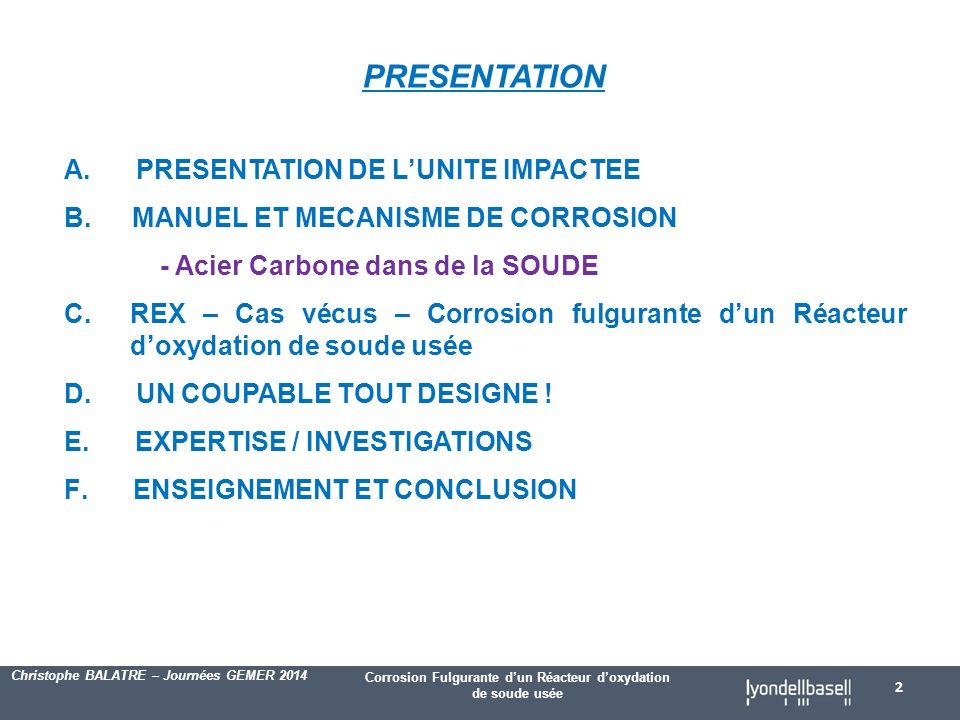 Corrosion Fulgurante d'un Réacteur d'oxydation de soude usée Christophe BALATRE – Journées GEMER 2014 PRESENTATION A.