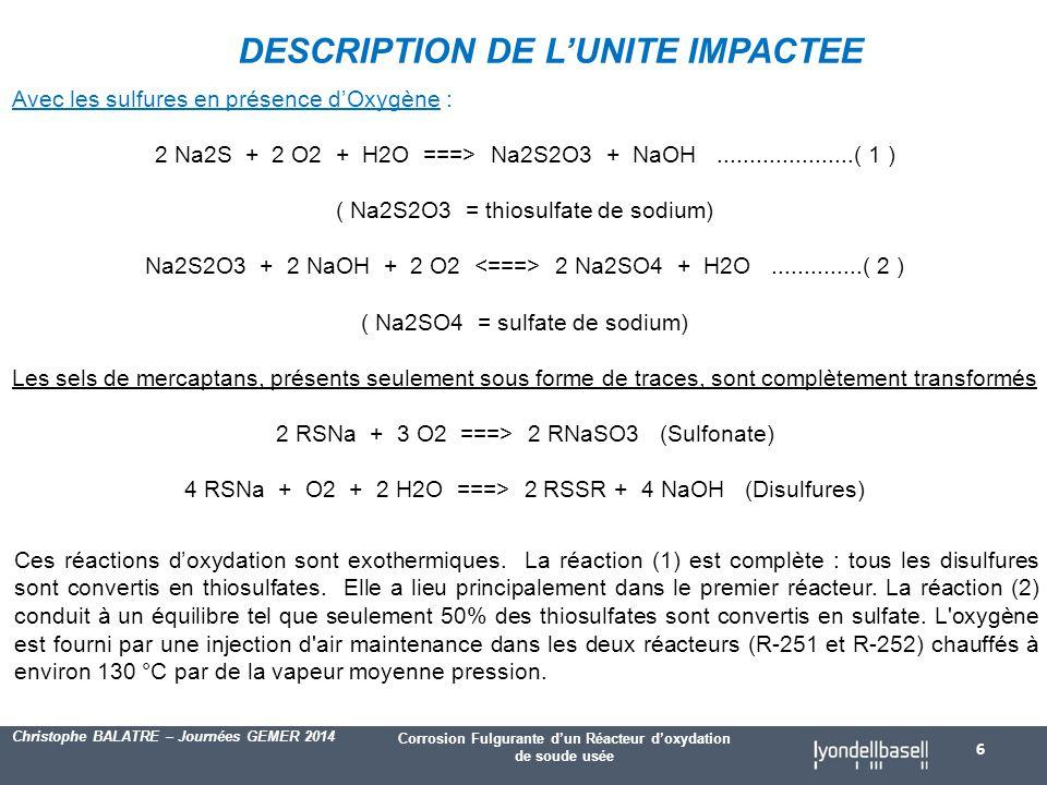 Corrosion Fulgurante d'un Réacteur d'oxydation de soude usée Christophe BALATRE – Journées GEMER 2014 Avec les sulfures en présence d'Oxygène : 2 Na2S + 2 O2 + H2O ===> Na2S2O3 + NaOH.....................( 1 ) ( Na2S2O3 = thiosulfate de sodium) Na2S2O3 + 2 NaOH + 2 O2 2 Na2SO4 + H2O..............( 2 ) ( Na2SO4 = sulfate de sodium) Les sels de mercaptans, présents seulement sous forme de traces, sont complètement transformés 2 RSNa + 3 O2 ===> 2 RNaSO3 (Sulfonate) 4 RSNa + O2 + 2 H2O ===> 2 RSSR + 4 NaOH (Disulfures) DESCRIPTION DE L'UNITE IMPACTEE 6 Ces réactions d'oxydation sont exothermiques.