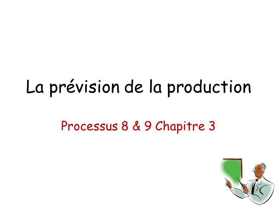 La prévision de la production Processus 8 & 9 Chapitre 3
