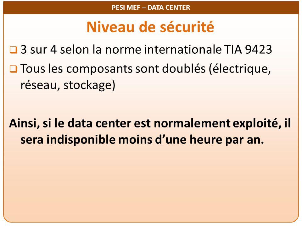 PESI MEF – DATA CENTER Niveau de sécurité  3 sur 4 selon la norme internationale TIA 9423  Tous les composants sont doublés (électrique, réseau, sto