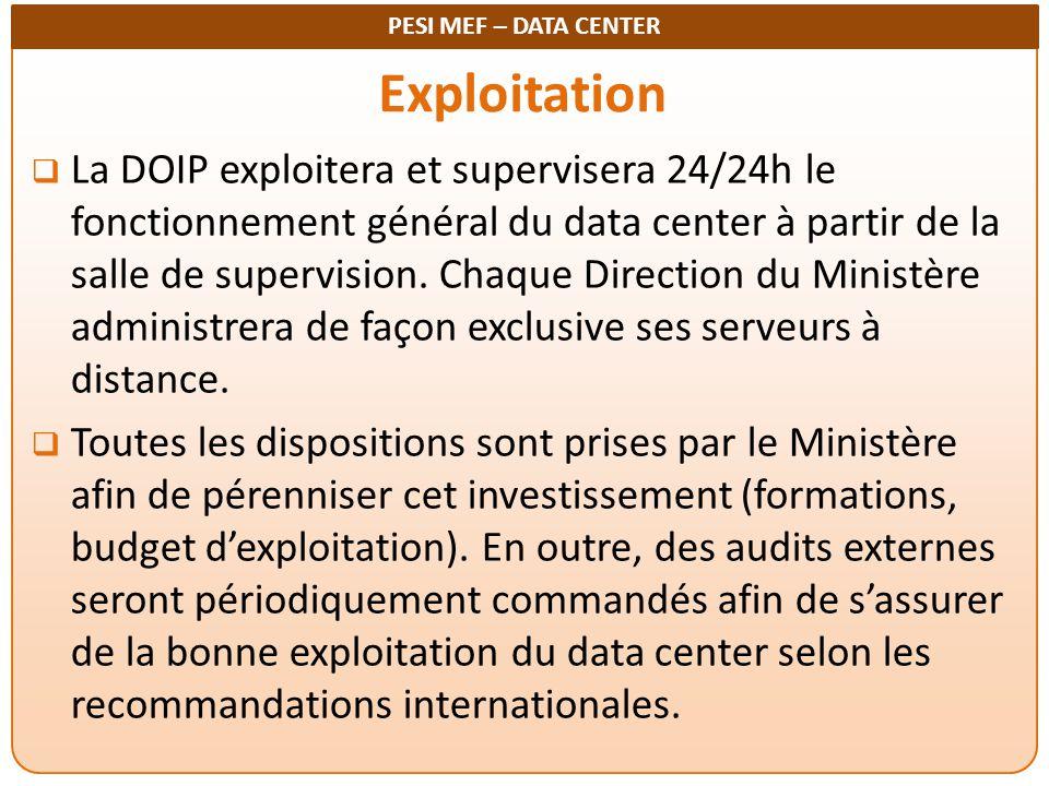 PESI MEF – DATA CENTER Exploitation  La DOIP exploitera et supervisera 24/24h le fonctionnement général du data center à partir de la salle de superv