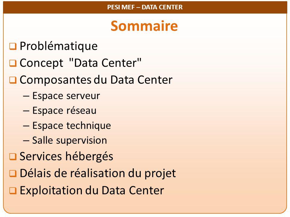 PESI MEF – DATA CENTER Sommaire  Problématique  Concept