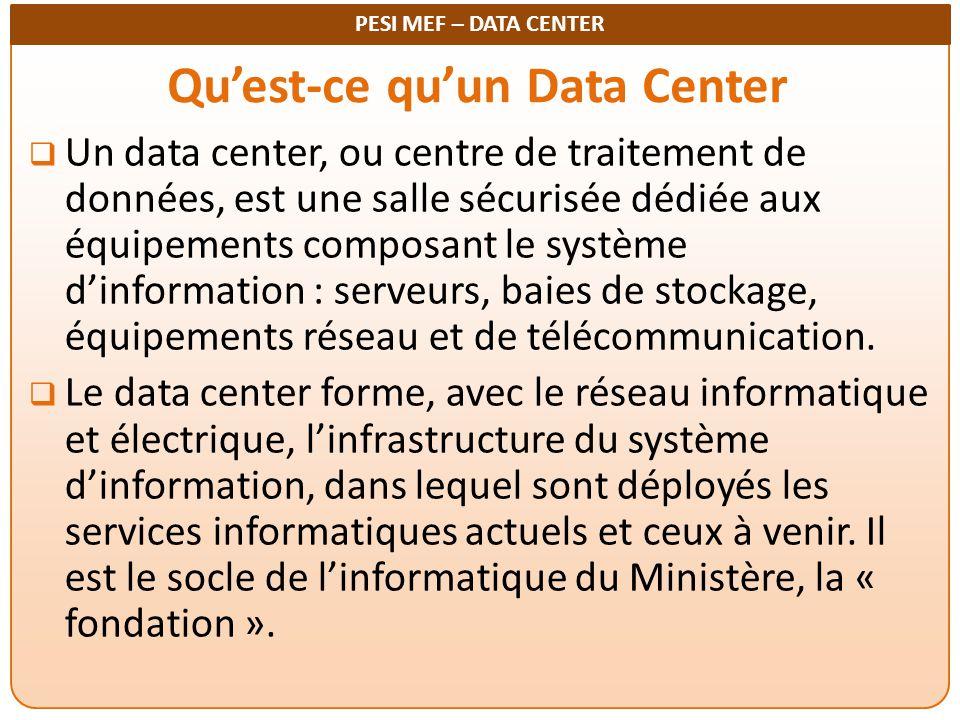 PESI MEF – DATA CENTER Qu'est-ce qu'un Data Center  Un data center, ou centre de traitement de données, est une salle sécurisée dédiée aux équipement