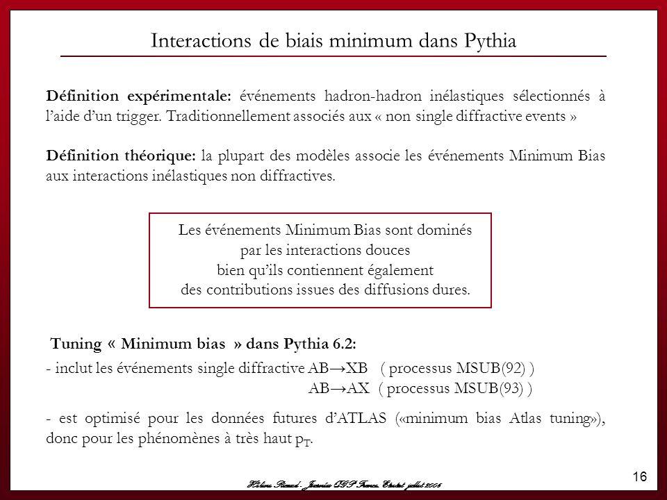 Hélène Ricaud - Journées QGP France, Etretat jullet 2006 16 Interactions de biais minimum dans Pythia Définition expérimentale: événements hadron-hadr