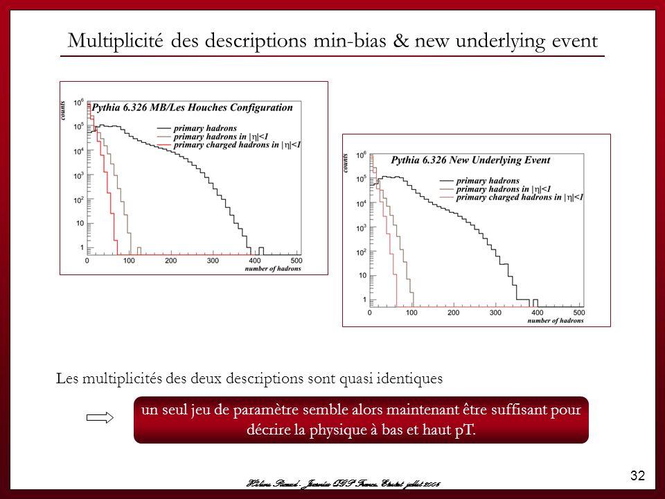 Hélène Ricaud - Journées QGP France, Etretat jullet 2006 32 Les multiplicités des deux descriptions sont quasi identiques Multiplicité des description