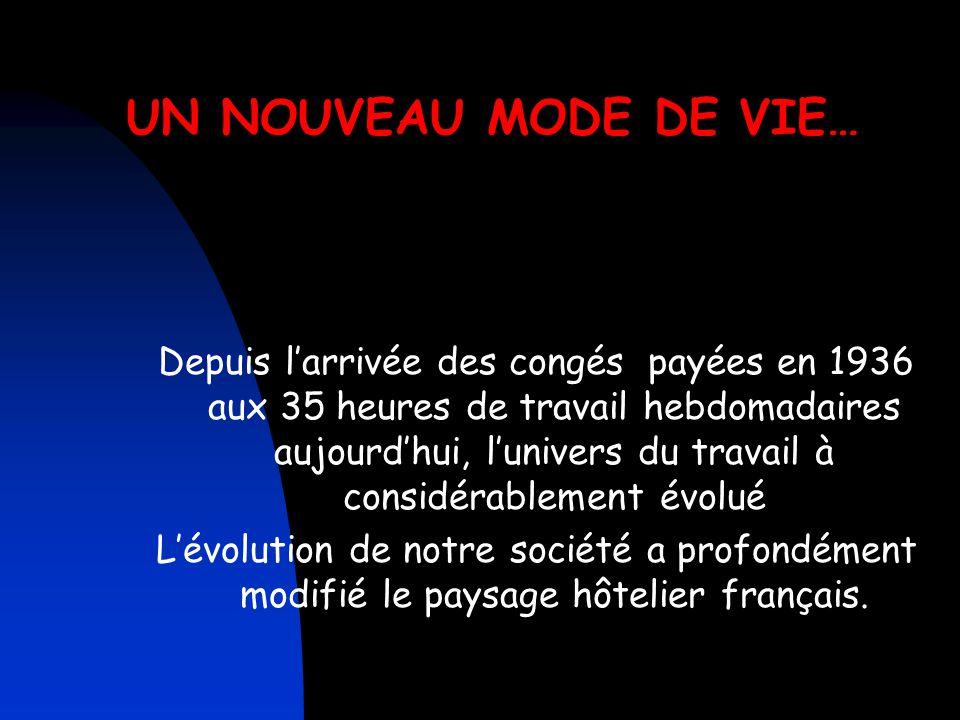 UN NOUVEAU MODE DE VIE… Depuis l'arrivée des congés payées en 1936 aux 35 heures de travail hebdomadaires aujourd'hui, l'univers du travail à considérablement évolué L'évolution de notre société a profondément modifié le paysage hôtelier français.