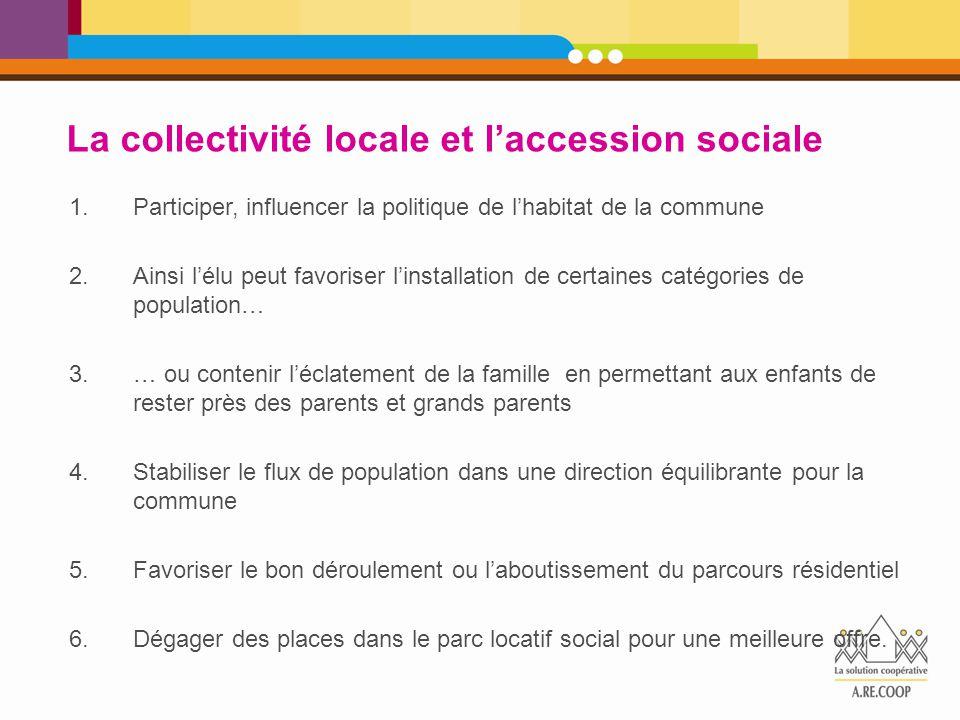 La collectivité locale et l'accession sociale 1.Participer, influencer la politique de l'habitat de la commune 2.Ainsi l'élu peut favoriser l'installa