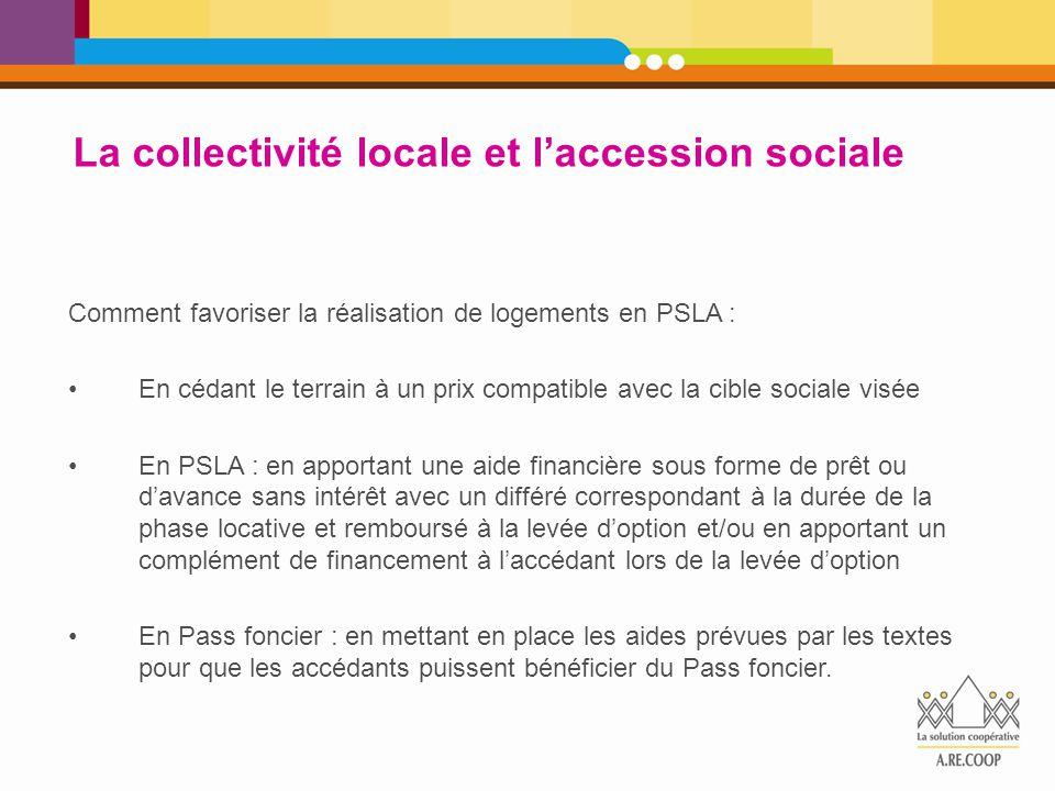 La collectivité locale et l'accession sociale Comment favoriser la réalisation de logements en PSLA : En cédant le terrain à un prix compatible avec l