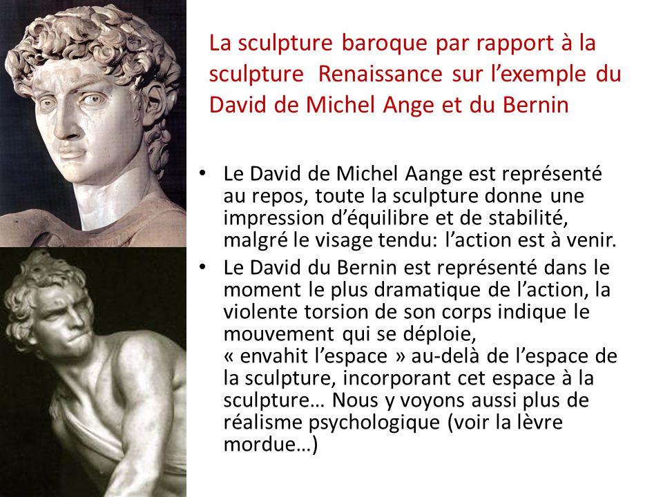 Le David de Michel Aange est représenté au repos, toute la sculpture donne une impression d'équilibre et de stabilité, malgré le visage tendu: l'action est à venir.