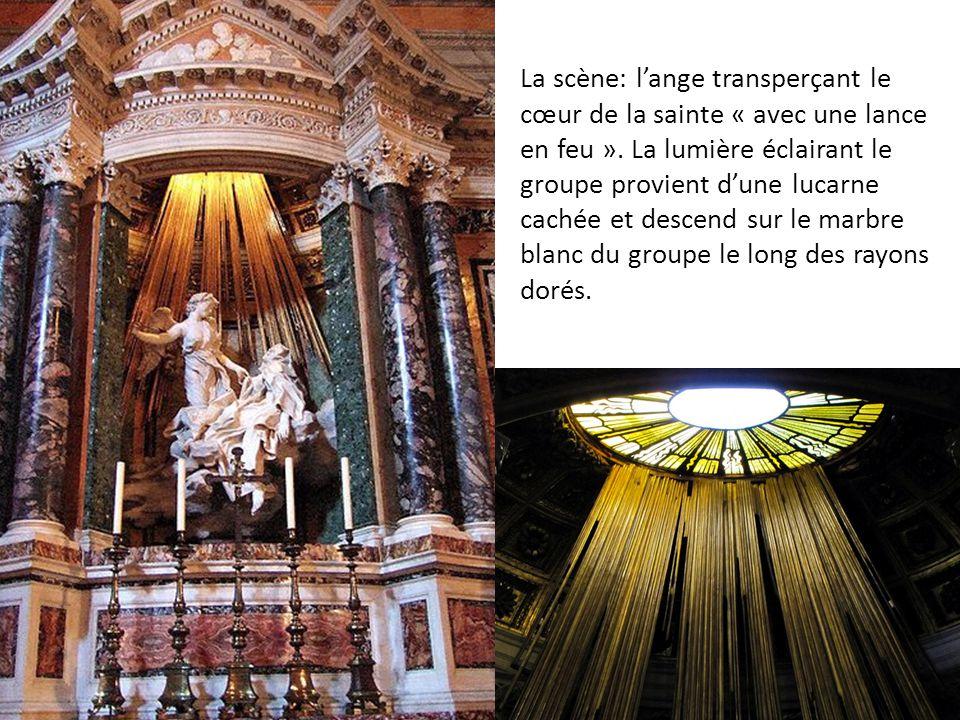 La scène: l'ange transperçant le cœur de la sainte « avec une lance en feu ».