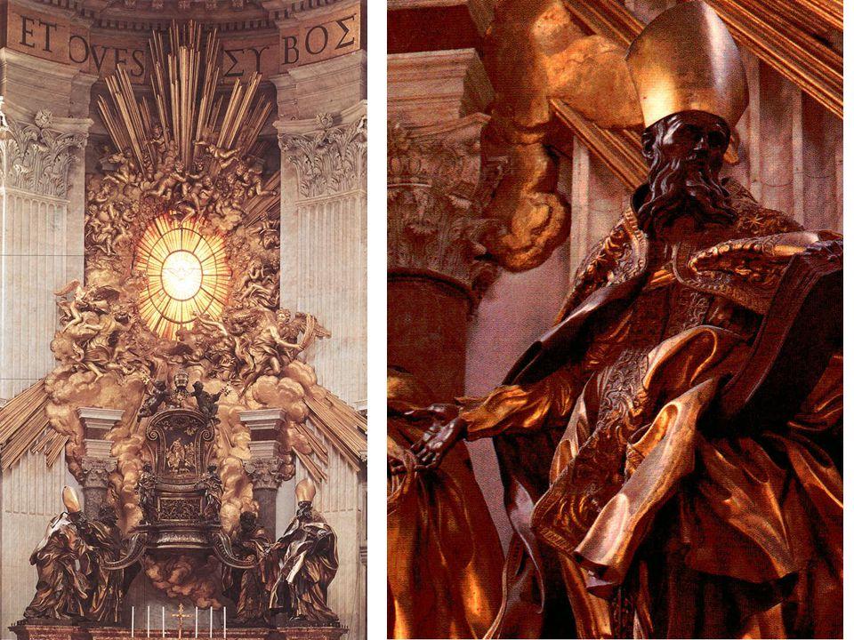 La lumière, symboliquement céleste, provient du vitrail d'où partent anges et nuages, enveloppant le trône.