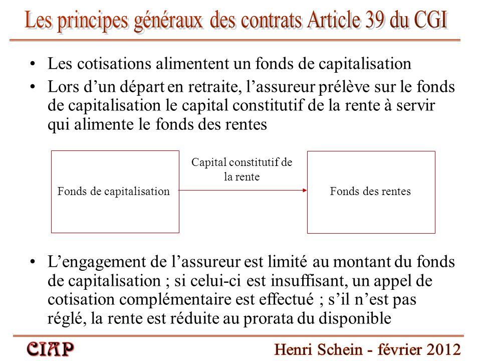 Les cotisations alimentent un fonds de capitalisation Lors d'un départ en retraite, l'assureur prélève sur le fonds de capitalisation le capital const