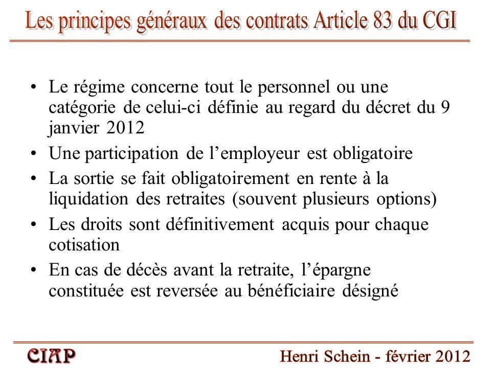 Le régime concerne tout le personnel ou une catégorie de celui-ci définie au regard du décret du 9 janvier 2012 Une participation de l'employeur est o