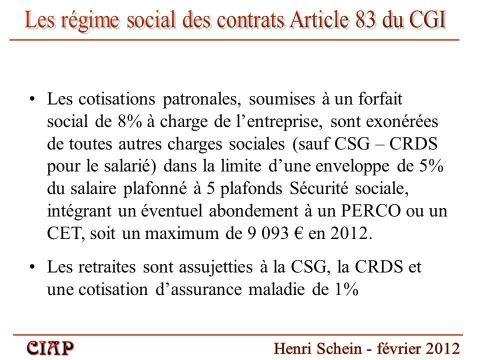 Les cotisations patronales, soumises à un forfait social de 8% à charge de l'entreprise, sont exonérées de toutes autres charges sociales (sauf CSG –
