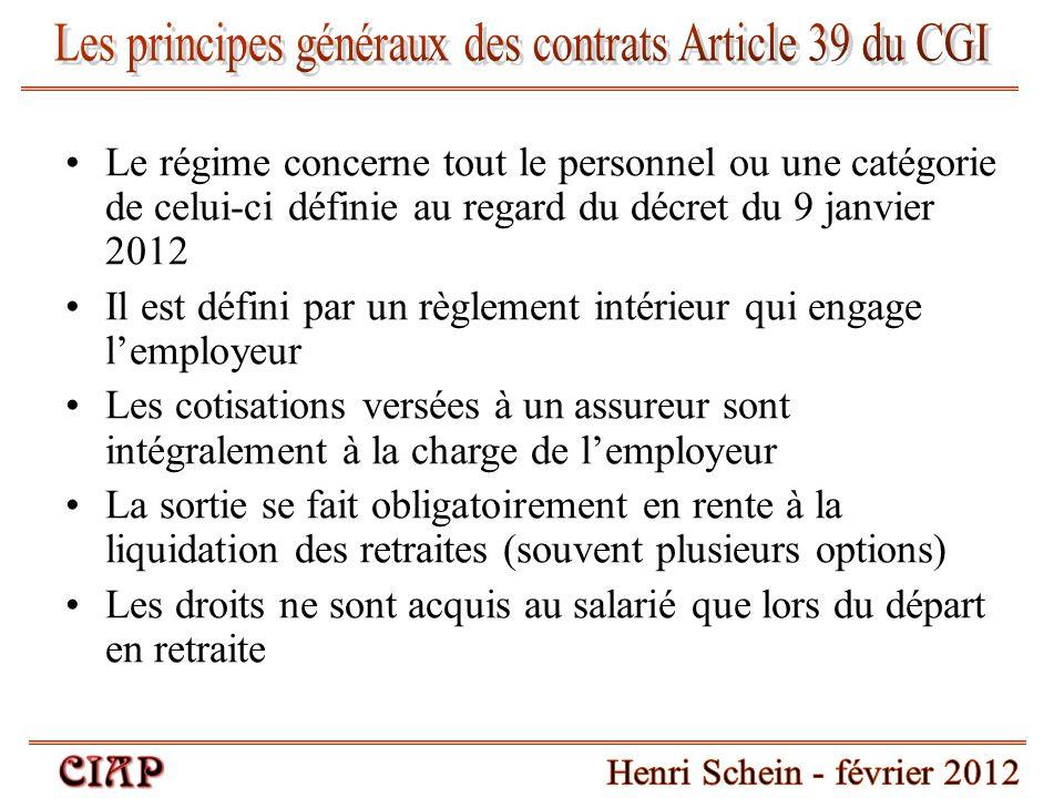 Le régime concerne tout le personnel ou une catégorie de celui-ci définie au regard du décret du 9 janvier 2012 Il est défini par un règlement intérie