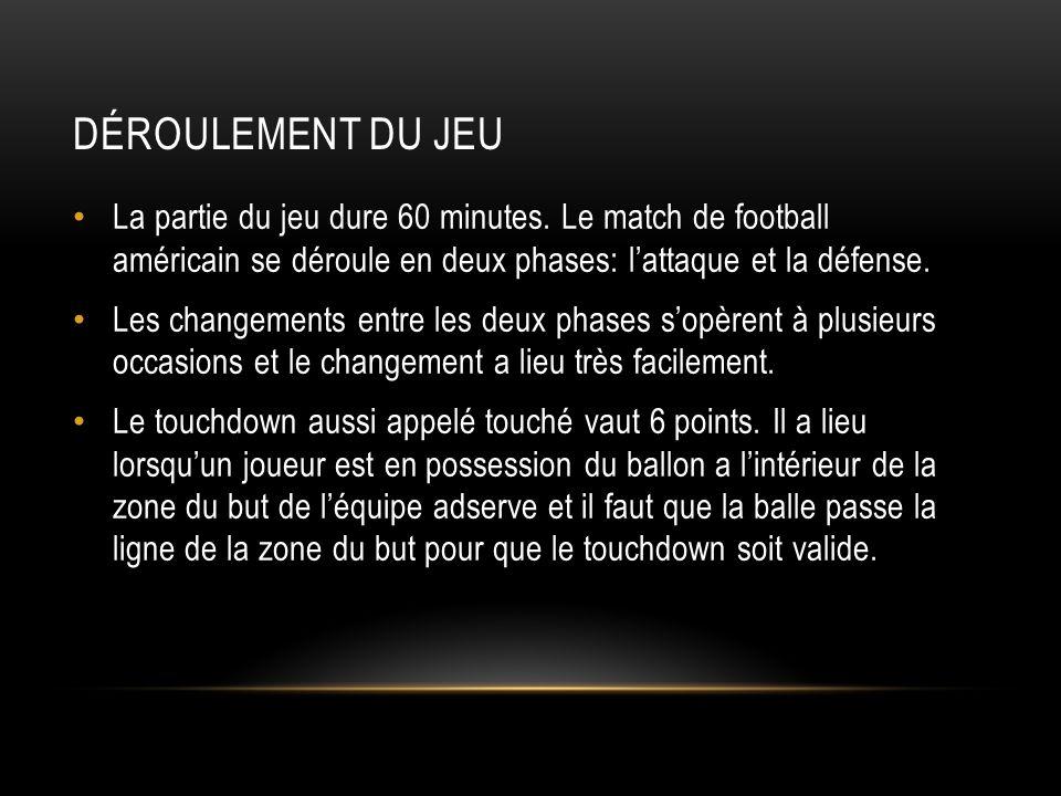 DÉROULEMENT DU JEU La partie du jeu dure 60 minutes. Le match de football américain se déroule en deux phases: l'attaque et la défense. Les changement