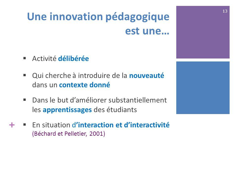 +  Activité délibérée  Qui cherche à introduire de la nouveauté dans un contexte donné  Dans le but d'améliorer substantiellement les apprentissages des étudiants  En situation d'interaction et d'interactivité (Béchard et Pelletier, 2001) Une innovation pédagogique est une… 13