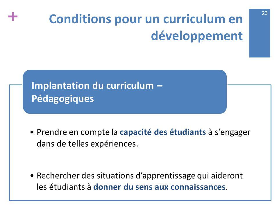 + Conditions pour un curriculum en développement Prendre en compte la capacité des étudiants à s'engager dans de telles expériences.