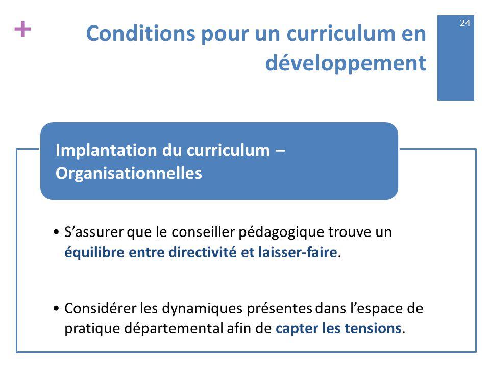 + Conditions pour un curriculum en développement S'assurer que le conseiller pédagogique trouve un équilibre entre directivité et laisser-faire.