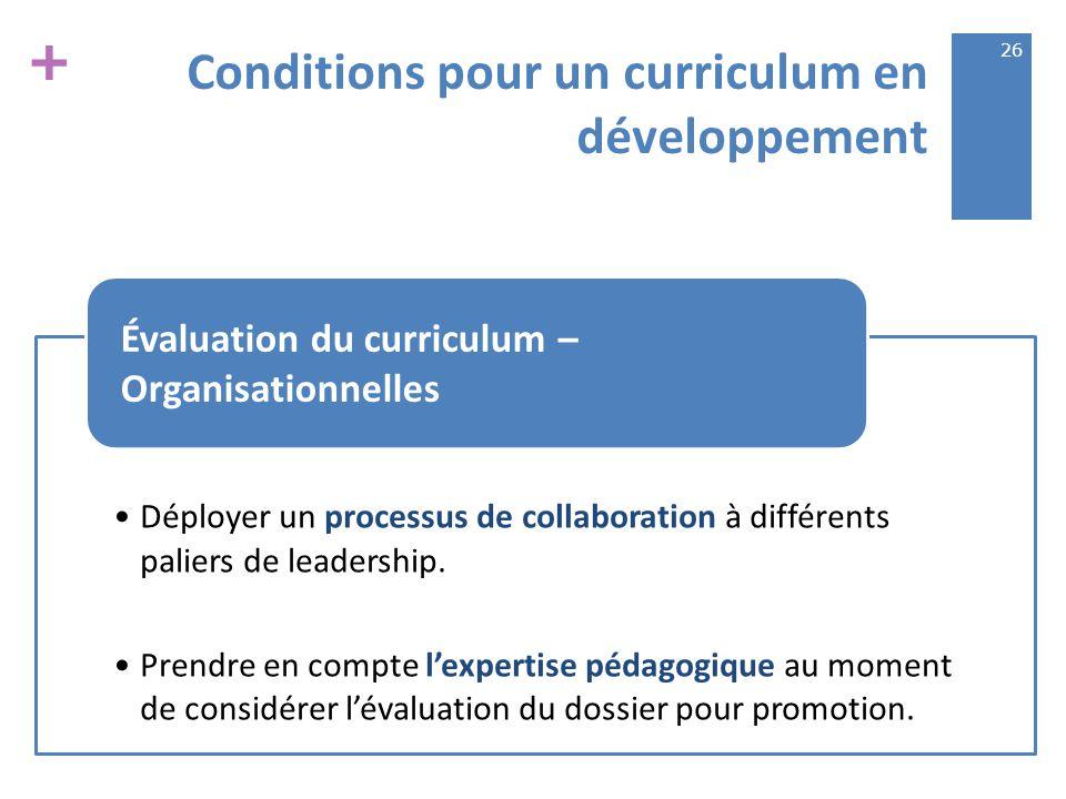 + Conditions pour un curriculum en développement Déployer un processus de collaboration à différents paliers de leadership.