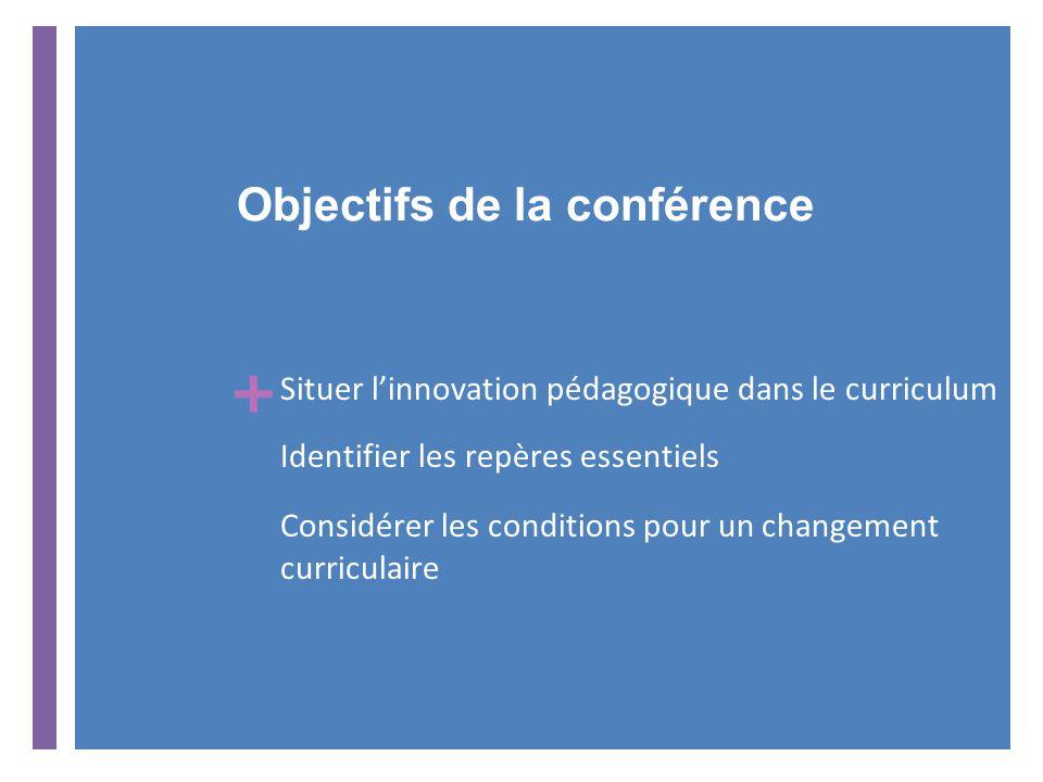 + Objectifs de la conférence Situer l'innovation pédagogique dans le curriculum Identifier les repères essentiels Considérer les conditions pour un changement curriculaire