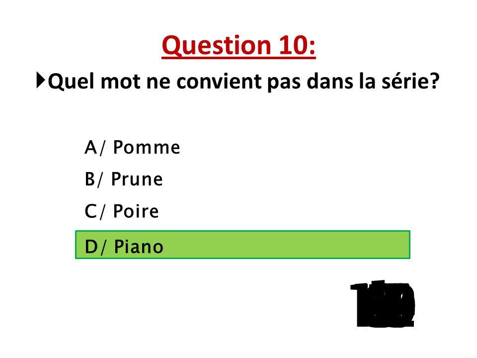 Question 9:  Lequel n'est pas un moyen de transport ? A/ Le bus B/ L'internet C/ Le bateau D/ Le vélo 15 141312111098765 4 32 1