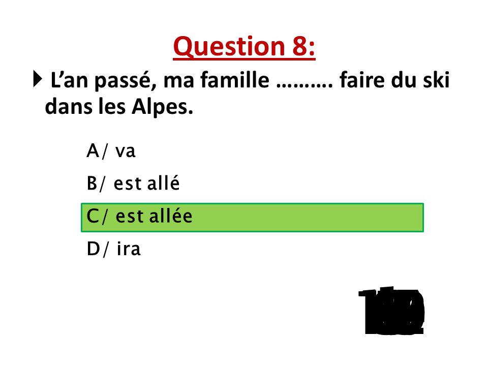 Question 7: ………. chemise préfères-tu? A/ Quel B/ Quelle C/ Quels D/ Quelles 15 141312111098765 4 32 1