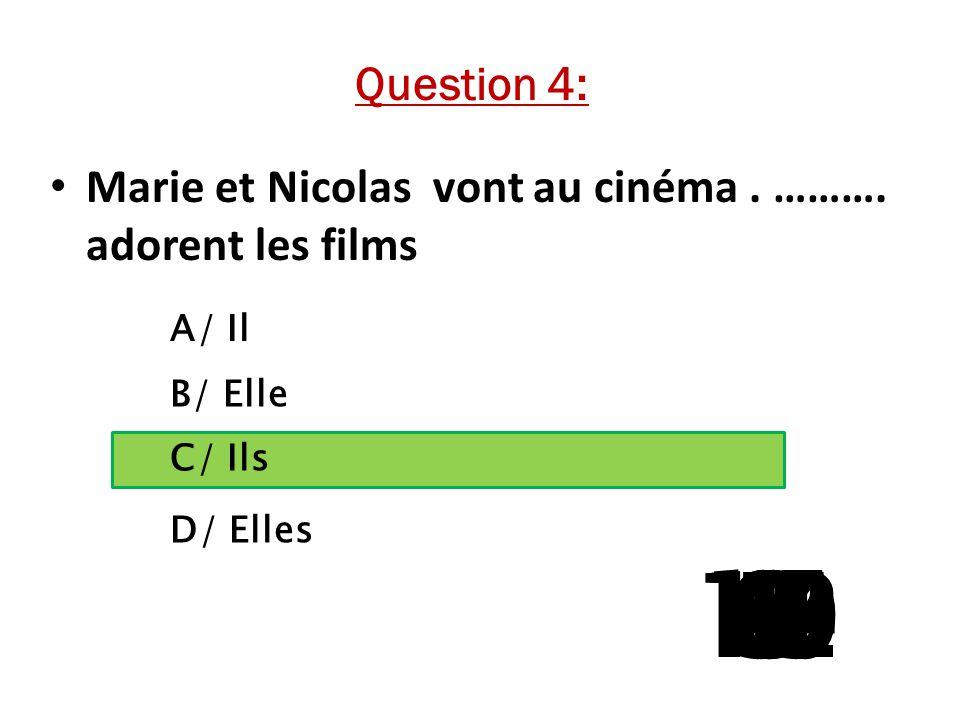 A/ Il B/ Elle C/ Ils D/ Elles 15 141312111098765 4 321 Question 4: Marie et Nicolas vont au cinéma.