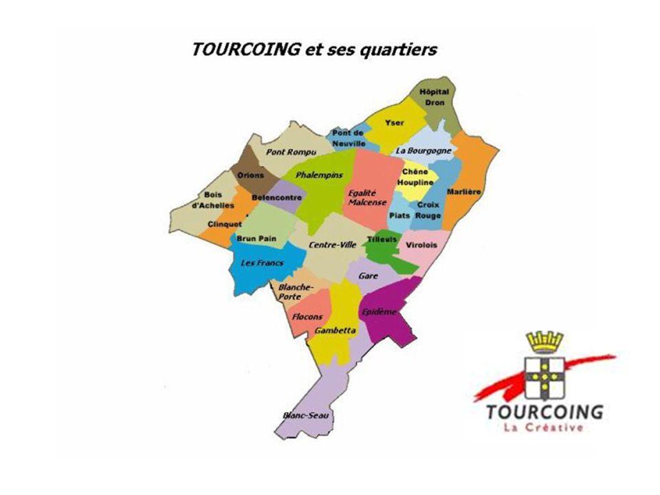 Tourcoing à proximité de Roubaix et de Lille et frontalière avec la Belgique.