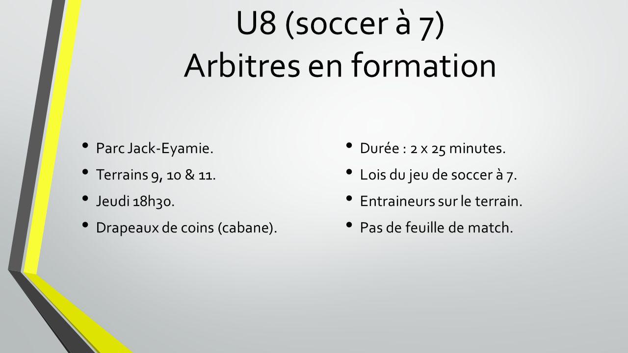 U8 (soccer à 7) Arbitres en formation Parc Jack-Eyamie.