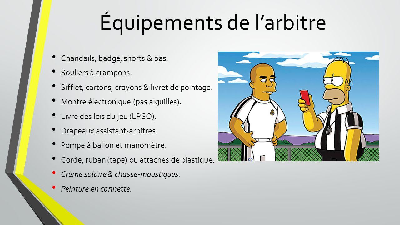 Équipements de l'arbitre Chandails, badge, shorts & bas.