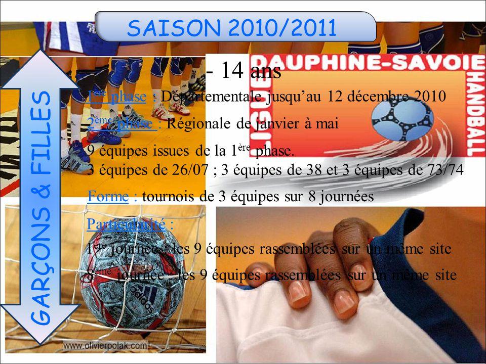 SAISON 2010/2011 - 14 ans GARÇONS & FILLES 1 ère phase : Départementale jusqu'au 12 décembre 2010 9 équipes issues de la 1 ère phase.