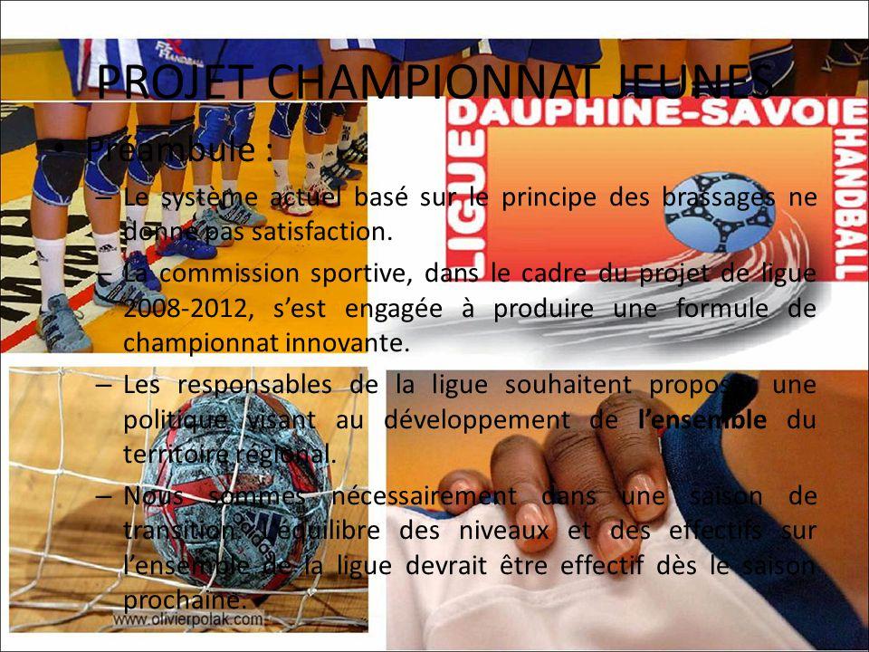 PROJET CHAMPIONNAT JEUNES Préambule : – Le système actuel basé sur le principe des brassages ne donne pas satisfaction.