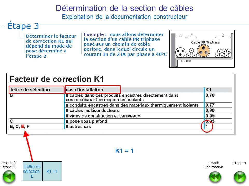 Détermination de la section de câbles Exploitation de la documentation constructeur Déterminer le facteur de correction K1 qui dépend du mode de pose