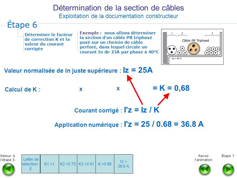 Détermination de la section de câbles Exploitation de la documentation constructeur Déterminer le facteur de correction K et la valeur du courant corr