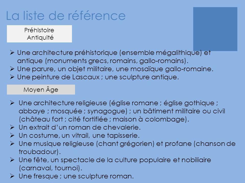 La liste de référence  Une architecture préhistorique (ensemble mégalithique) et antique (monuments grecs, romains, gallo-romains).  Une parure, un