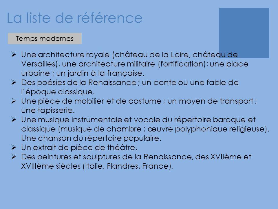 La liste de référence  Une architecture royale (château de la Loire, château de Versailles), une architecture militaire (fortification); une place urbaine ; un jardin à la française.