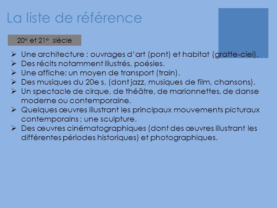 La liste de référence  Une architecture : ouvrages d'art (pont) et habitat (gratte-ciel).  Des récits notamment illustrés, poésies.  Une affiche; u