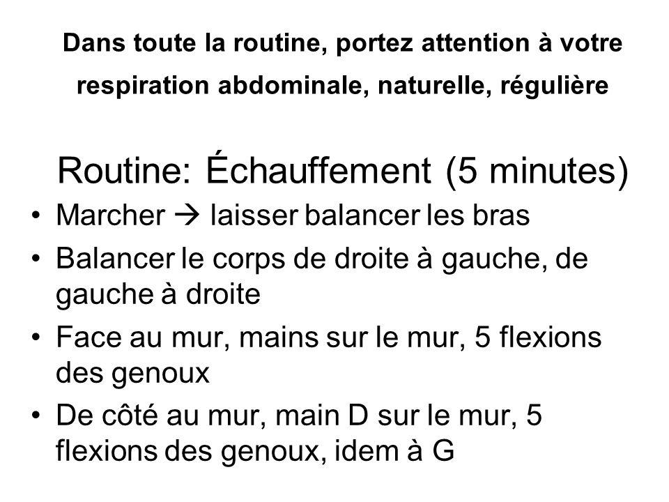 Routine: COUCHÉ (3 minutes) -Bascule du bassin -Respiration abdominale -Relâcher les muscles encore tendus -Mini OUI -Zone neutre épaules -Sentir les épaules reculer à chaque respiration profonde.