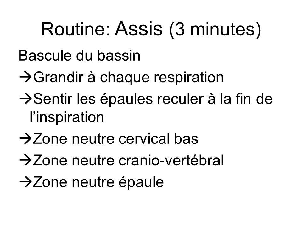 Routine: Assis (3 minutes) Bascule du bassin  Grandir à chaque respiration  Sentir les épaules reculer à la fin de l'inspiration  Zone neutre cervical bas  Zone neutre cranio-vertébral  Zone neutre épaule
