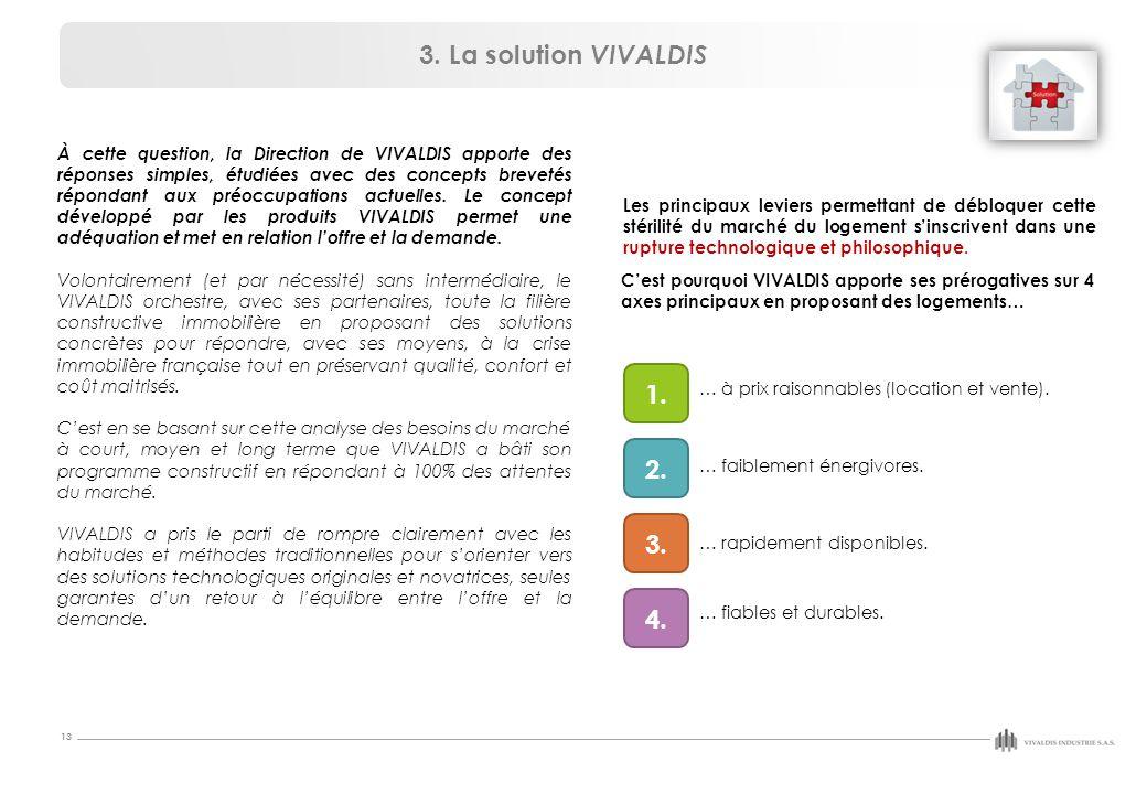 13 À cette question, la Direction de VIVALDIS apporte des réponses simples, étudiées avec des concepts brevetés répondant aux préoccupations actuelles.