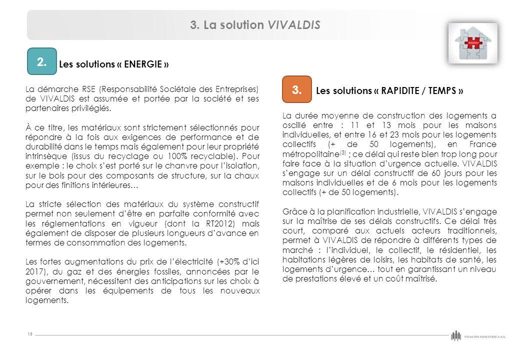 15 2. 3. Les solutions « ENERGIE » La démarche RSE (Responsabilité Sociétale des Entreprises) de VIVALDIS est assumée et portée par la société et ses