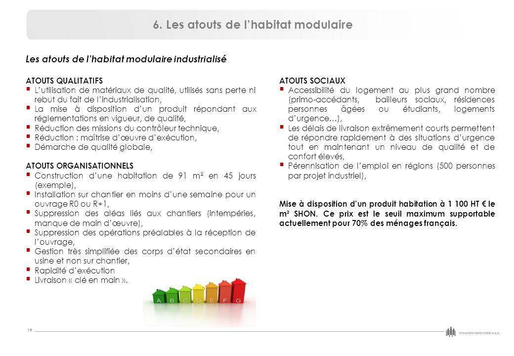 19 Les atouts de l'habitat modulaire industrialisé ATOUTS QUALITATIFS  L'utilisation de matériaux de qualité, utilisés sans perte ni rebut du fait de