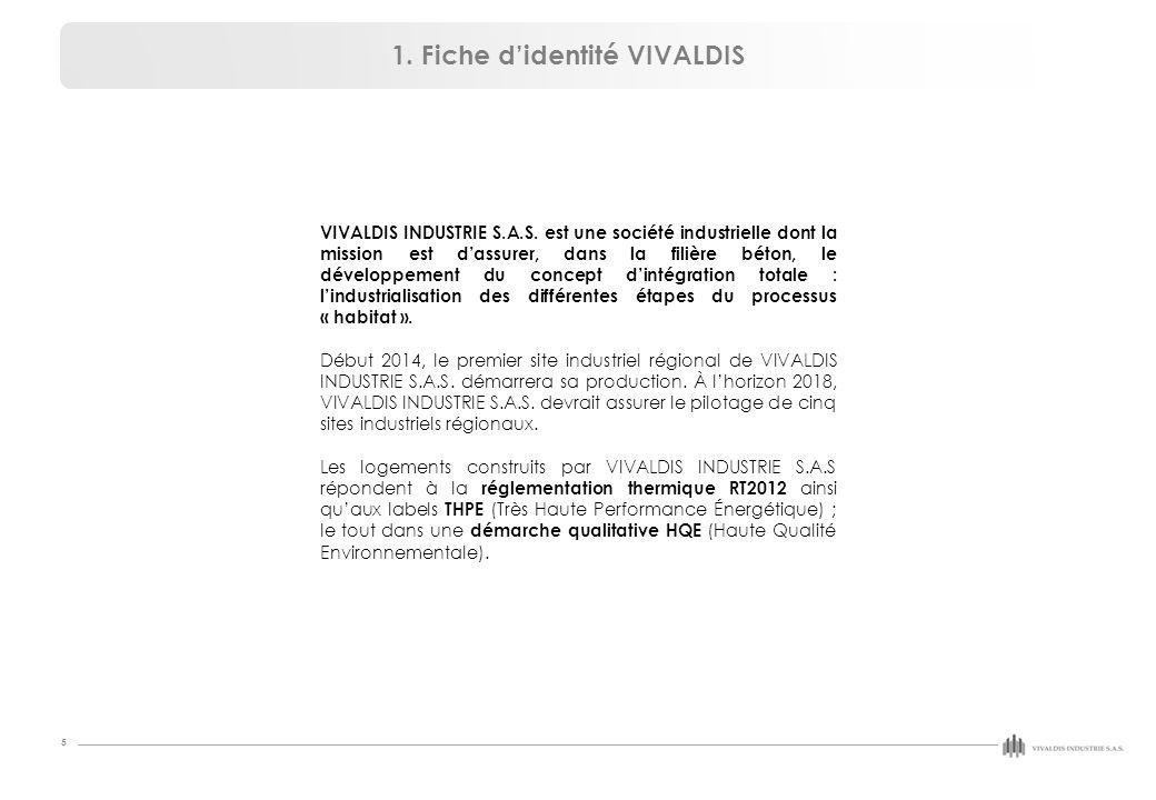 5 1. Fiche d'identité VIVALDIS VIVALDIS INDUSTRIE S.A.S. est une société industrielle dont la mission est d'assurer, dans la filière béton, le dévelop