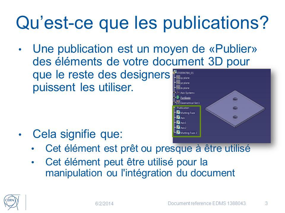 Qu'est-ce que les publications? Une publication est un moyen de «Publier» des éléments de votre document 3D pour que le reste des designers puissent l